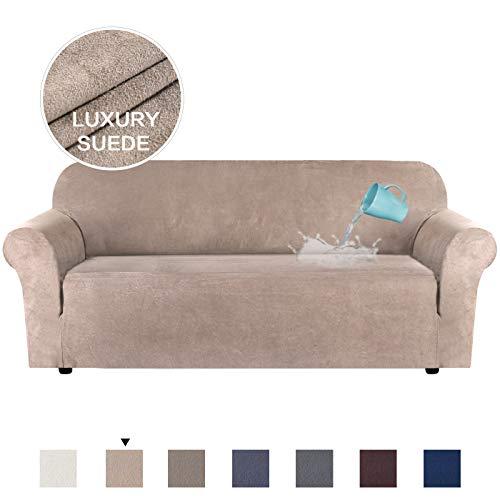 H.VERSAILTEX Elegant Luxury Ultra Soft Rich Suede Sofa Cover Stretch Plush Furniture Protector, 1 Piece for Sofa, Super Soft Machine Washable, Sand, Large Size