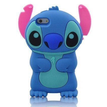 Stylish Cartoon 3D Stitch Soft Silicone Case Cover with Movable Ear Flip for Smartphone Iphone 6 4.7'' Inch Blue