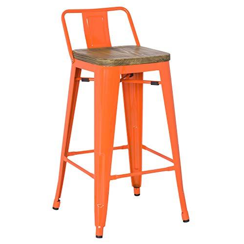 Metro Low Back Bar Stool | Orange + Wood | Set of ()