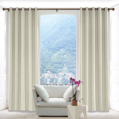 Macochico 120W x 96L Inch Sand Beige Faux Linen Curtain Drapes with Blackout Lining Antique Bronze Grommet, Room Darkening Panels for Sliding Glass Door Living Room Office (1 Panel)
