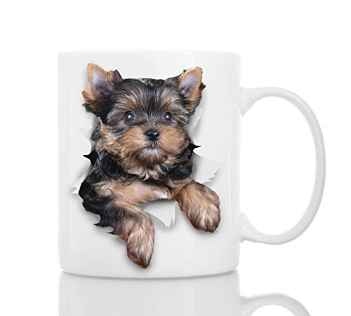 Cute Yorkshire Terrier Dog Mug - Ceramic Funny Dog Coffee Mug - Perfect Dog Lover Gift - Novelty Coffee Mug Present - Great Birthday or Christmas Surprise for Friend or Coworker, Men and Women (11oz)