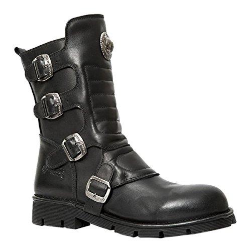 New Rock Mens Crust Leather Boots Schwarz