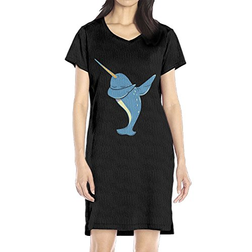 Hoeless Dabbing Narwhal Women's Short Sleeve Casual T-Shirt Dress MBlack - Brandy Melville Halloween Costume