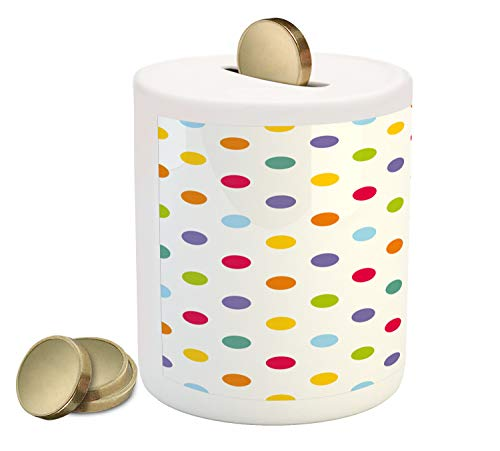 Ambesonne Geometric Piggy Bank, Vintage Polka Dots Pastel Colors on Blank Background Cheerful Desing Illustration, Printed Ceramic Coin Bank Money Box for Cash Saving, - Piggy Blanks Color Bank