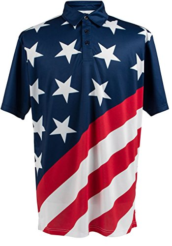 ReadyGOLF Mens Golf Polo Shirt - USA Flag (American Flag Polo Shirt)