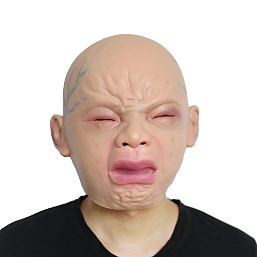 Not So Scary Halloween Party Costumes (Homeditor Novelty Crying baby mask,Halloween Costume Party Latex Head Mask)