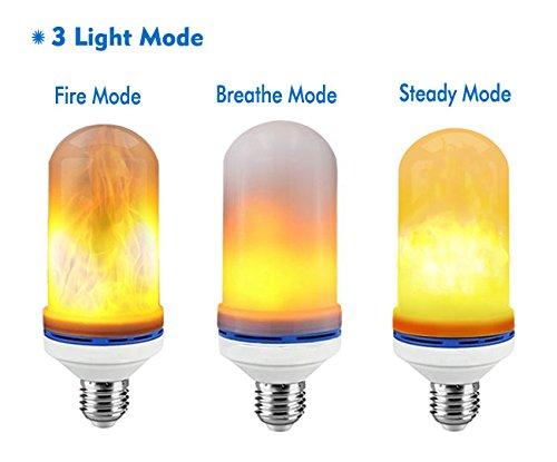 JESWELL LED Flame Light Bulb, 3 Light Modes Flicker Light Bulb, E27 Base Fire Effect Light Bulb for Home Decor (Pack of 2)