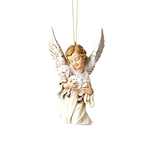 Joseph's Studio by Roman A Kneeling Angel Holding a Lamb Hanging Ornament, 4.25-Inch (Ornament Lamb Hanging)