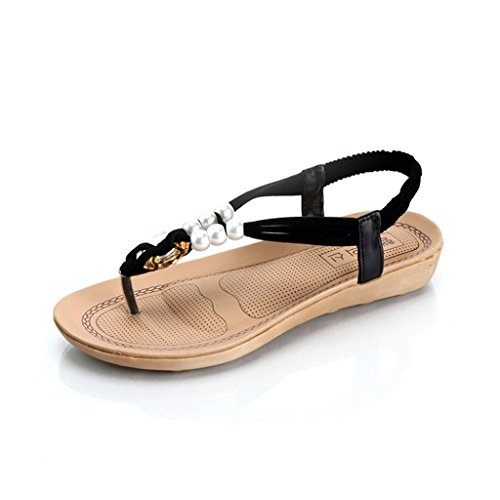 Angelof Sandales Femmes, Sandales Plat Perles Bohème Ado Fille Chaussures Peep-Toe Flip Flop Femmes Sandale Plage Ete Noir
