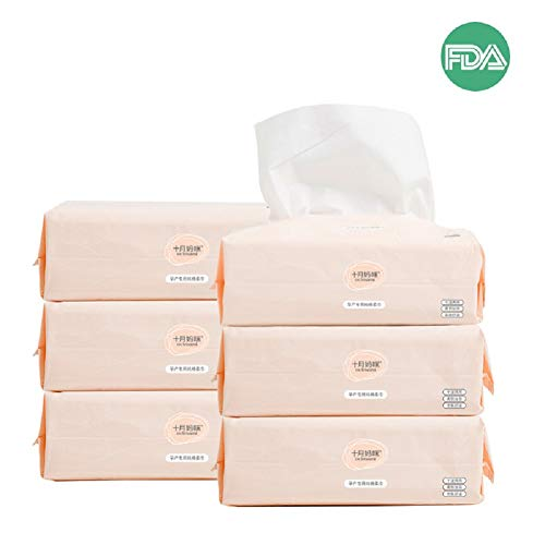 Skin Tissue - Dry Baby Wipes Octmami Soft Dry Cotton Wipes Baby Tissue Cotton for Sensitive Skin Portable 6 Packs 600 Count