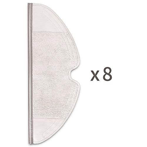 Vecukty 8 Chiffons pour Xiaomi Roborock S5 Max S6 Pure S6 MaxV S5 S50 S51 S55 S6, Serpillière pour Xiaomi Roborock E2 E3 E35 E4, Accessoires pour Xiaomi Aspirateur
