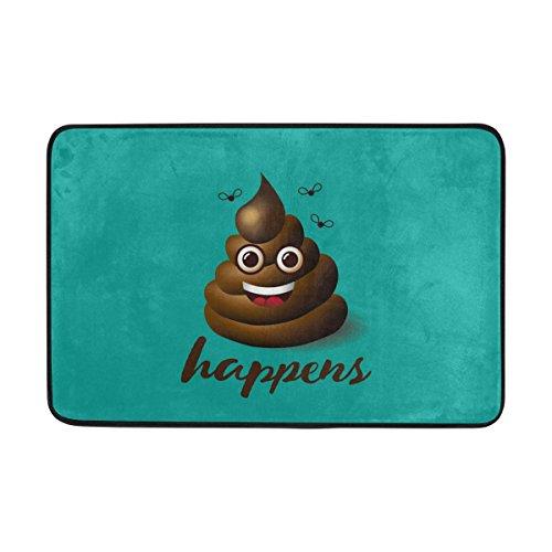 Yochoice Non-slip Door Mat Home Decor, Funny Smiling Poop Emoji Emoticon Face Durable Indoor Outdoor Entrance Doormat 23.6 X 15.7 Inches ()