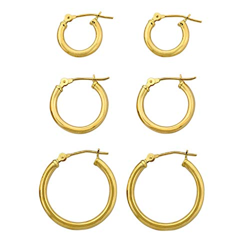 3-Pair 10K Yellow Gold Classic Polished 2mm Tube Hoop Earrings Set
