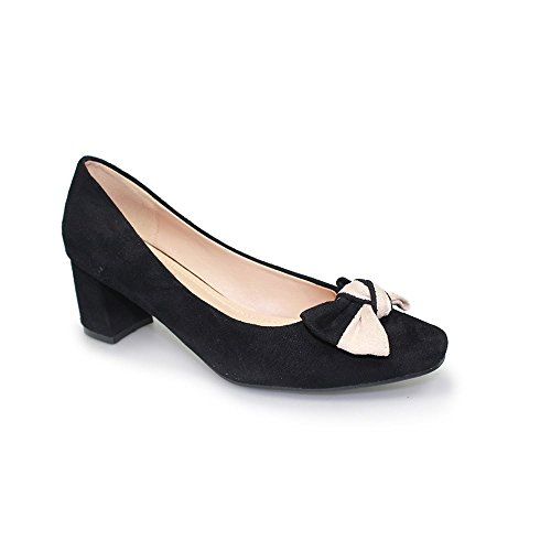 Lunar Marla Bow Pump Court With Low Heel and Two-Tone Bow, Black or Navy 3,4,5,6,7,8 Black