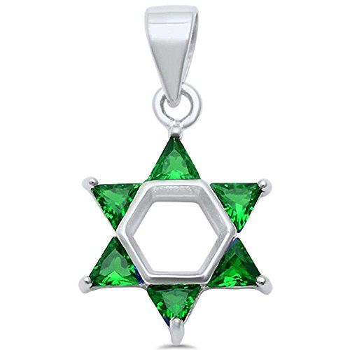 Star of David Pendant Charm Triangle Simulated Green Emerald CZ 925 Sterling Silver Jewish Star -