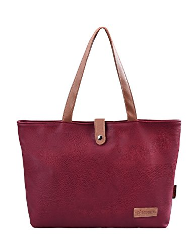 Douguyan Mujer Bolsos al hombro Paquete Bolso de Mano de PU E00251 caqui Rojo