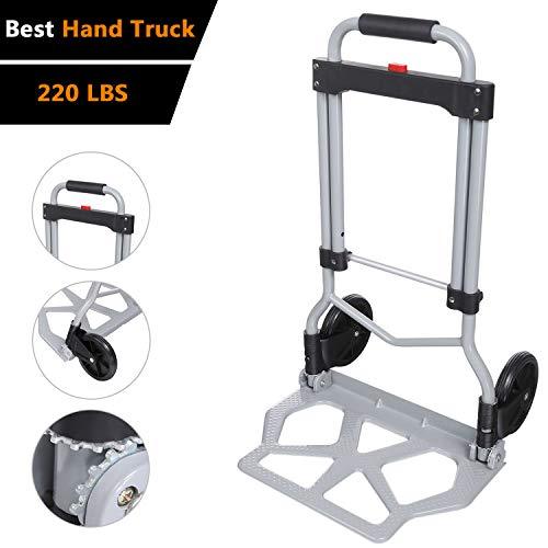 Voluker 220lbs Portable Heavy Duty Aluminum Folding Hand Truck and Dolly Two-Wheel Luggage Cart (US Stock)