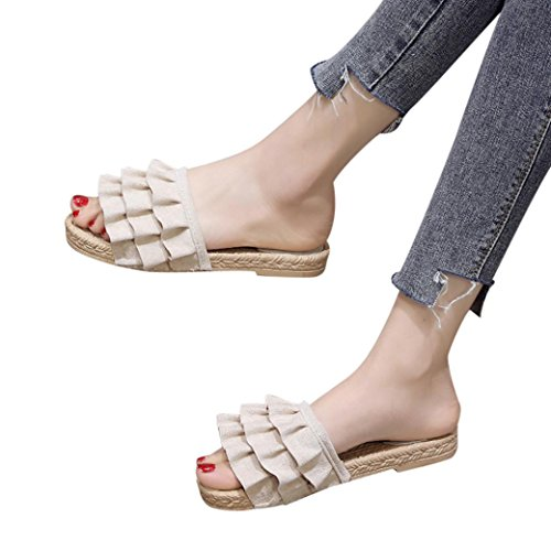 Out hunpta Hollow Color Women Beige Toe Square Solid Flat Sandals Heel Flat Fashion AnHXxA