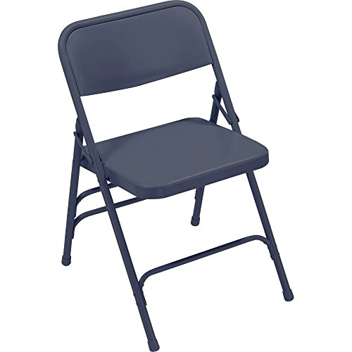 National Public Seating 300 Series All Steel Premium Folding Chair with Triple Brace, 480 lbs Capacity, Char-Blue (Carton of 4)