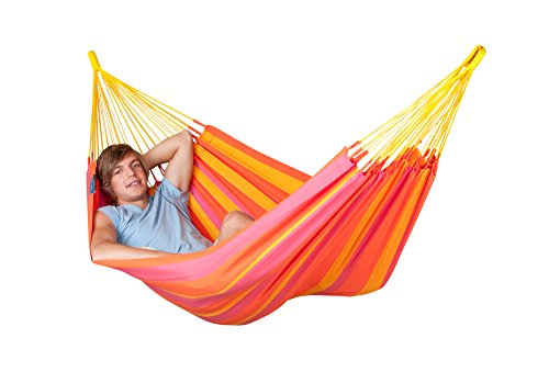 LA SIESTA - Sonrisa Mandarine - Hamaca clásica Individual outdoor - Single cloth hammock for one person - 265 lb weight capacity - most comfortable when lying diagonally Weatherproof polypropylene fabric () is specially designed for hammocks to look and feel like cotton, but is weather resistant and fast-drying Traditionally handmade in Columbia with tear proof selvage and many suspension cords - patio-furniture, patio, hammocks - 41myL6J7ebL -
