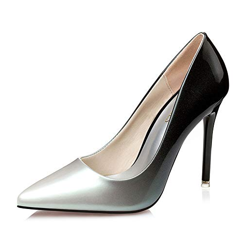 Silver Leather Color Womens Gradient Dress Party Renly Stiletto Pumps PU R7zn7A