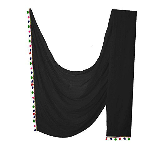 Indian Women Dupatta With Multicolor Pom Pom Lace Hijab Neck Wrap Scarf Stole Gift (Black) by Stylob