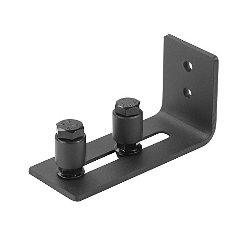 Hahaemall Powder Coated Wall Mount Stay Roller Floor Guide for Sliding Barn Door Latch Hardware (Bottom Latch)
