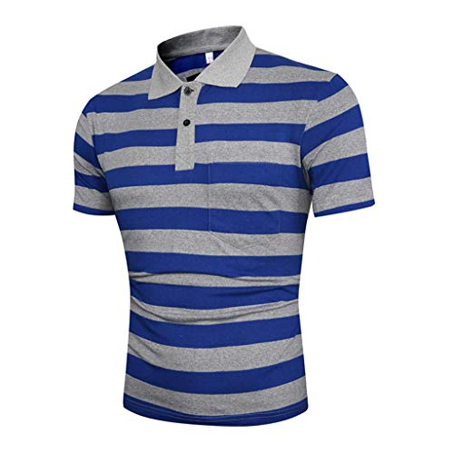 Dry fit Polo Shirts for Men Short Sleeve Regular Fit Striped Polo Shirt with Pocket Mens Casual Summer 2019 Blue