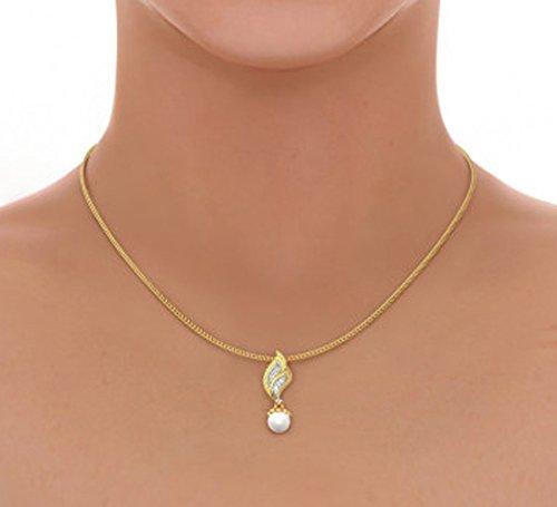 Or jaune 14K 0,06CT TW Round-cut-diamond (IJ | SI) et blanc perle Pendentif