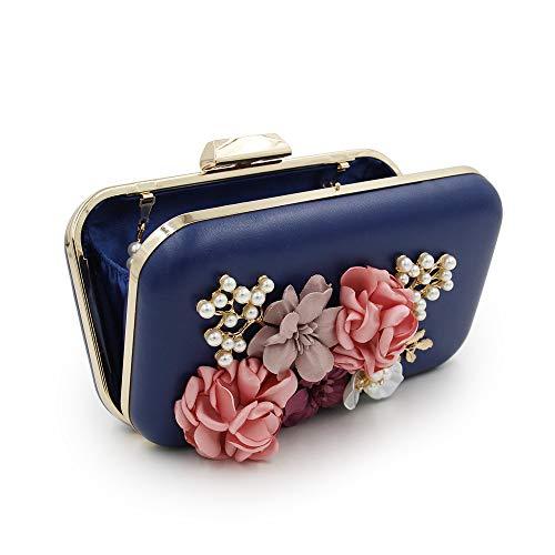 Piccole blu ed Hand Bag con Floral Cocktail a incrociate eleganti The Party Bridal Clutch donne Borse per signore tracolla The le cintura xF1f5Ywq