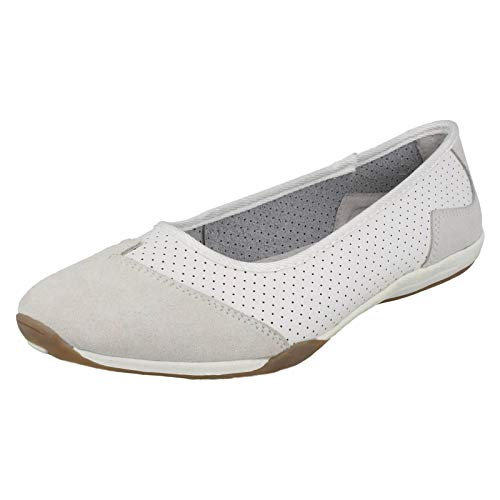 To F80261 Down Casual Earth Ladies Ballerinas Leather White qndC1xO