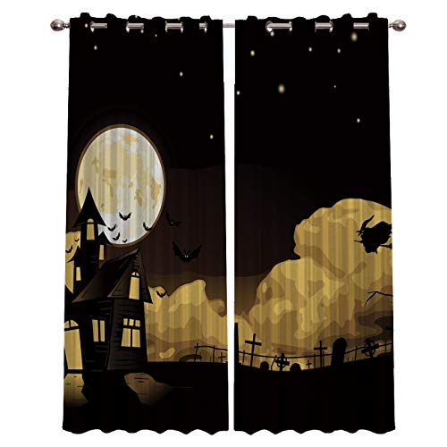 CHARMHOME Halloween Night,Witches and Castles Blackout Curtains for Bedroom Window Thermal Insulated Blackout Drapes Solid Grommet for Living Room Set of 2 Panels 40
