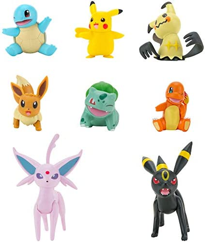 Pokémon Battle Figure 8-Pack - Features Charmander, Bulbasaur, Squirtle, Mimikyu, Pikachu, Eevee, Umbreon, Espeon - Perfect for Any Trainer