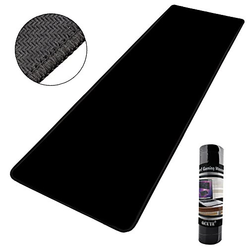 "Large Mouse Pad,Qcute Extra Large Wateproof Gaming Mouse Mat,Stitched Edges Non-slippery Rubber Base Mats with Smooth Surface and Precise Tracking,Soft and Durable (Extended XXL 30.3 X 11.8"", Black)"
