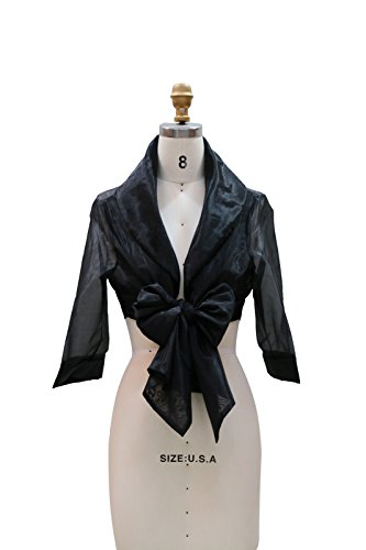 Chic Queen Women's Sheer Organza Bolero Shrug Jacket Cardigan Long Sleeve(Black)