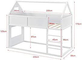 Litera para niños con Escalera 200 x 90 cm Cama para niños de Madera Pino Cama Infantil Forma de casa Blanco: Amazon.es: Hogar