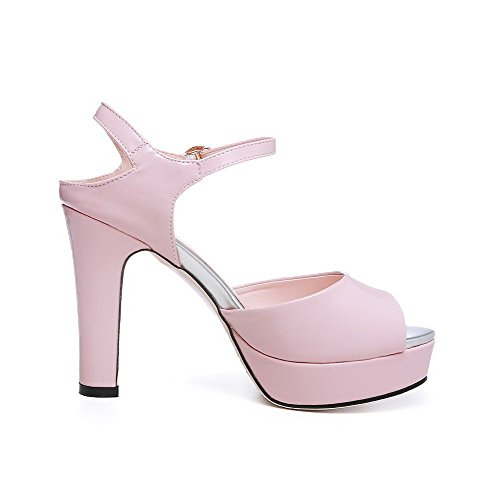 Women's Solid AllhqFashion Patent Sandals Pink Peep Toe Heels High Buckle Leather f88Hwd