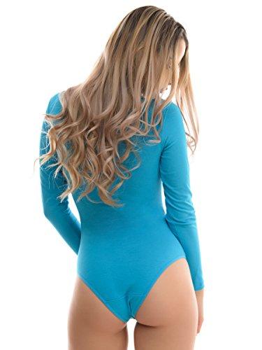 Evoni libero ottima tempo body body Turchese donna a intero body sport sport elegante lunghe rotondo con alternativa maniche per e collo completo per da UFrUTWnq