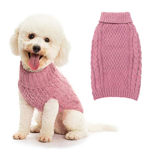 SCIROKKO Turtleneck Dog Sweater – Classic Cable Knit Winter Coat – Feather Yarn Glittered with Silver Wire – Keep Warm…
