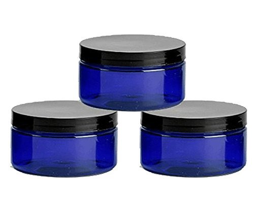Grand Parfums 6 Cobalt Blue Low Profile 8 Oz Jars PET Plastic Empty Cosmetic Containers, Black Caps, Sugar Scrub, Powder, Body Cream, Lotion, Beads
