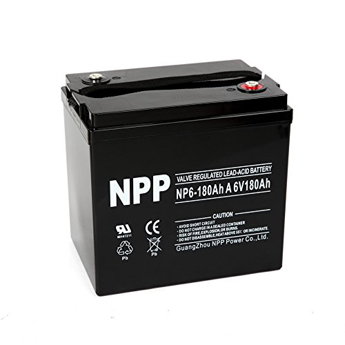 NPP 6V 180 Amp NP6 180Ah AGM Deep Cycle Camper Golf Cart RV Boat Solar Wind Battery by NPP