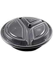 Black 48 oz. 8'' x 2'' (50/PCS) Round 3 Compartment Microwaveable Take Out Container with Lids (3 Compartment Meal Prep Containers)