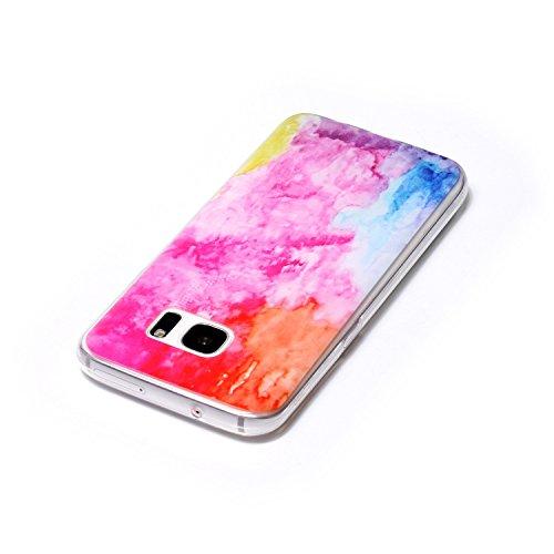 Funda Carcasa Transparente Silicona para Samsung Galaxy S7(con Gratis Pantalla Protector),KaseHome Único Mariposa y Cereza Rosa Patrón Cristal Claro Ultra Delgado Suave Durable Caucho Parachoque [Anti Pintura en color