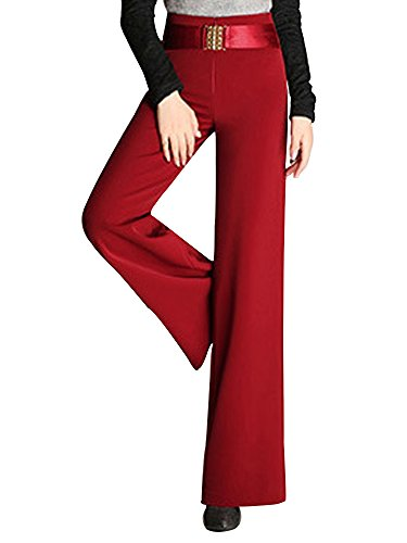 Straight Leg Bootcut Flare (Gooket Women's High Waist Fashion Flare Wide Leg Palazzo Pants Slacks Bootcut Trousers Red Tag M-US 2P)