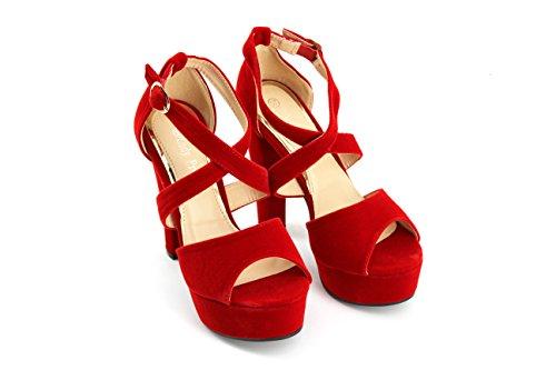 Modelisa - Sandalia Tacón Plataforma Mujer Rojo