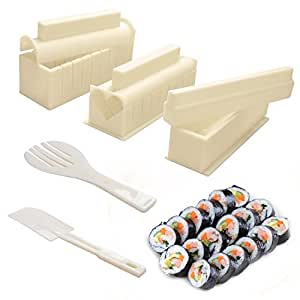 CUH Sushi Making Kit DIY 10 PCS Sushi Roll Maker Sushi Maker Rice Roll Mold for Kitchen Easy To Use