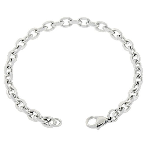 Large Cable Oval (Women's Stainless Steel Anklet Made From 5mm Cable Chain 7in to 14in (14 Inches))