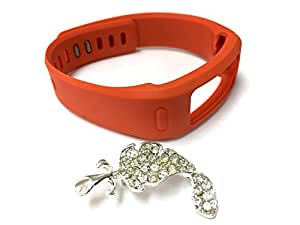 1pc Replacement Tangerine Band & Metal Clasp For Garmin Vivofit Bracelet Smart Wristband Wireless Activity Bracelet Sport Bracelet Sport Arm Band Armband + Nice Crystals Feather Brooch