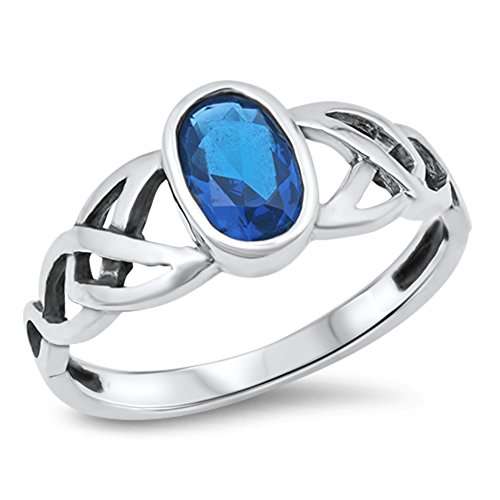 Sapphire Celtic Bands (Oval Blue Simulated Sapphire Celtic Knot Ring New .925 Sterling Silver Band Size 10)