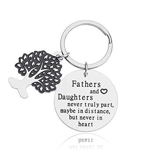 Father's Day Gift Keychain from Daughter Engraved Fathers and Daughters Never Truly Part, Maybe in Distance, But Never in Heart Stainless Steel Key Ring for Men Birthday - Fathers Day Keychains